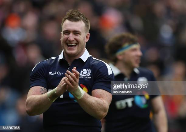 Stuart Hogg of Scotland celebrates at full time during the 6 Nations match between Scotland and Wales at Murrayfield Stadium on February 25 2017 in...
