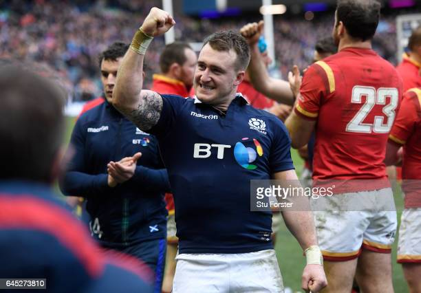 Stuart Hogg of Scotland celebrates following his team's 2913 victory during the RBS Six Nations match between Scotland and Wales at Murrayfield...