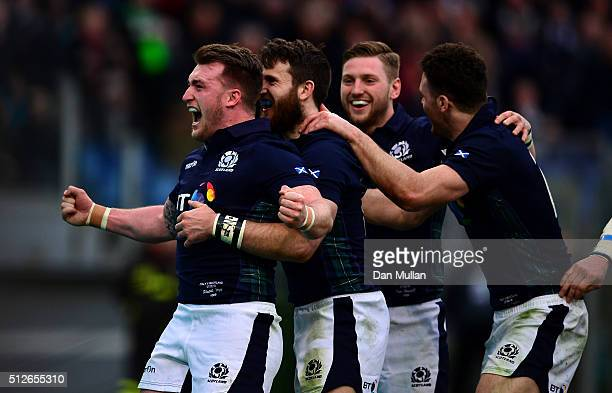 Stuart Hogg of Scotland celebrates the try of Tommy Seymour of Scotland during the RBS Six Nations match between Italy and Scotland at Stadio...
