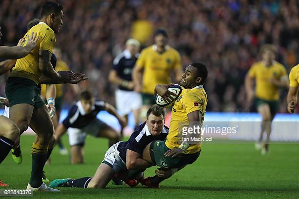 Stuart Hogg of Scotland tries to stopTevita Kuridrani of Australia as he runs through to score a try during the Scotland v Australia Autumn Test...