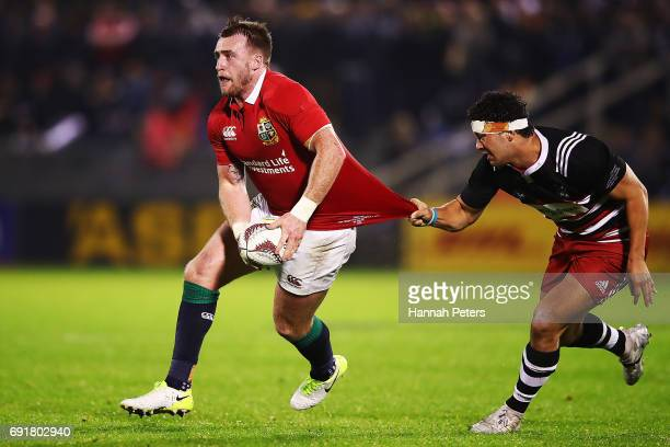 Stuart Hogg of the Lions makes a break during the match between the New Zealand Provincial Barbarians and British Irish Lions at Toll Stadium on June...
