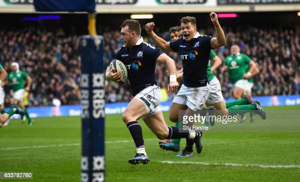 Stuart Hogg runs in his second try during the RBS Six Nations match between Scotland and Ireland at Murrayfield Stadium on February 4 2017 in...