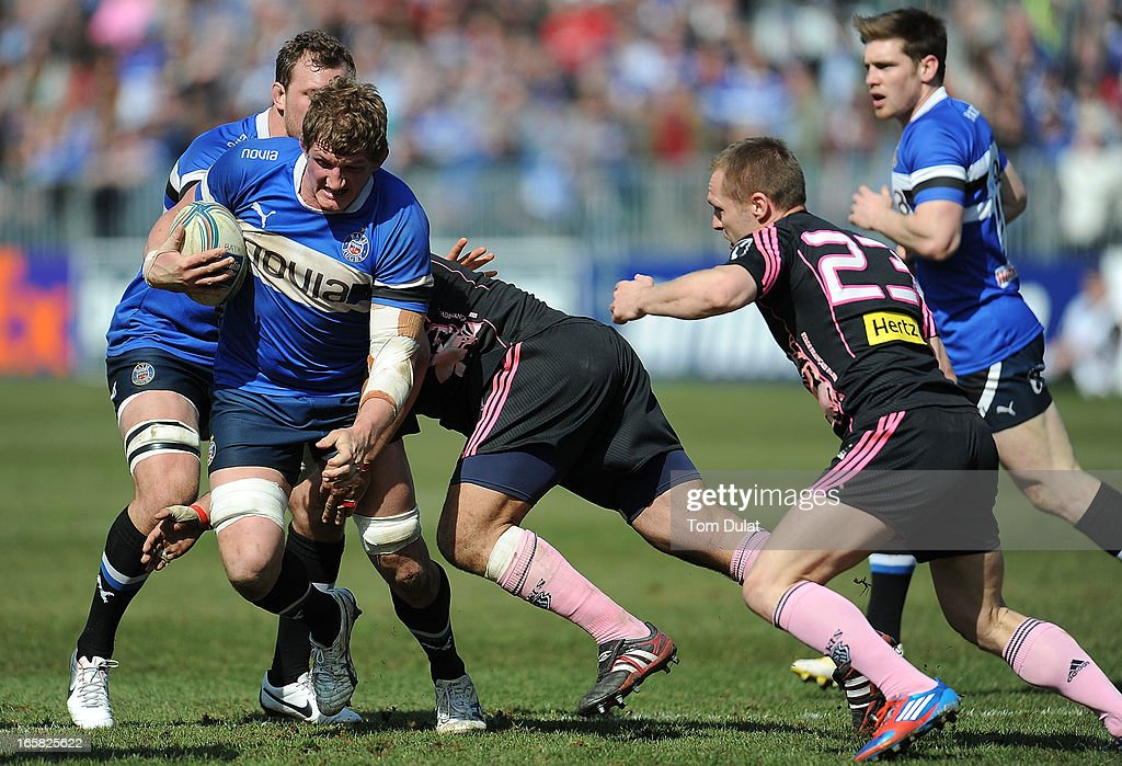 <a gi-track='captionPersonalityLinkClicked' href=/galleries/search?phrase=Stuart+Hooper&family=editorial&specificpeople=211089 ng-click='$event.stopPropagation()'>Stuart Hooper</a> of Bath in action during the Amlin Challenge Cup Quarter Final match between Bath and Stade Francais at the Recreation Ground on April 06, 2013 in Bath, England.