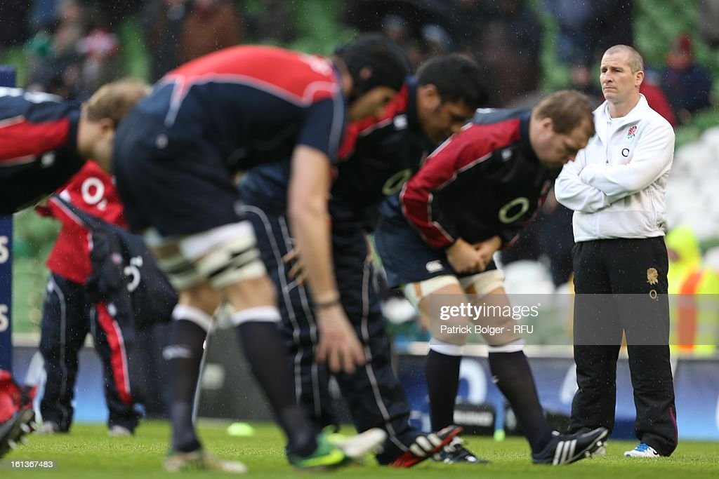 <a gi-track='captionPersonalityLinkClicked' href=/galleries/search?phrase=Stuart+Lancaster&family=editorial&specificpeople=2263180 ng-click='$event.stopPropagation()'>Stuart Lancaster</a> during the RBS Six Nations match between Ireland and England at Aviva Stadium on February 10, 2013 in Dublin, Ireland.