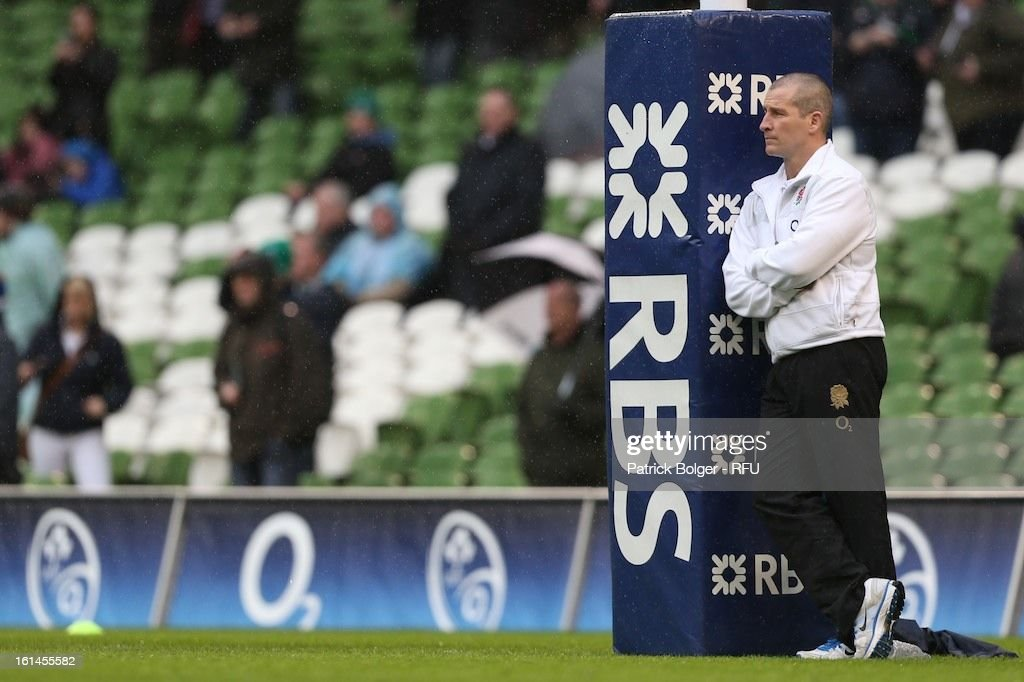 Stuart Lancaster during the RBS Six Nations match between Ireland and England at Aviva Stadium on February 10, 2013 in Dublin, Ireland.