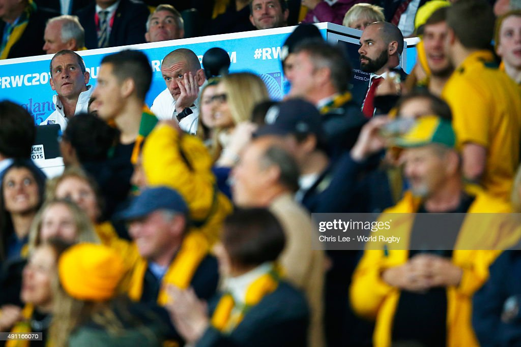 <a gi-track='captionPersonalityLinkClicked' href=/galleries/search?phrase=Stuart+Lancaster&family=editorial&specificpeople=2263180 ng-click='$event.stopPropagation()'>Stuart Lancaster</a> (L), Head Coach of England and <a gi-track='captionPersonalityLinkClicked' href=/galleries/search?phrase=Graham+Rowntree&family=editorial&specificpeople=215047 ng-click='$event.stopPropagation()'>Graham Rowntree</a>, Forwards Coach look dejected during the 2015 Rugby World Cup Pool A match between England and Australia at Twickenham Stadium on October 3, 2015 in London, United Kingdom.