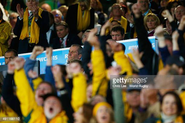 Stuart Lancaster Head Coach of England looks dejected as Australia fans celebrate during the 2015 Rugby World Cup Pool A match between England and...