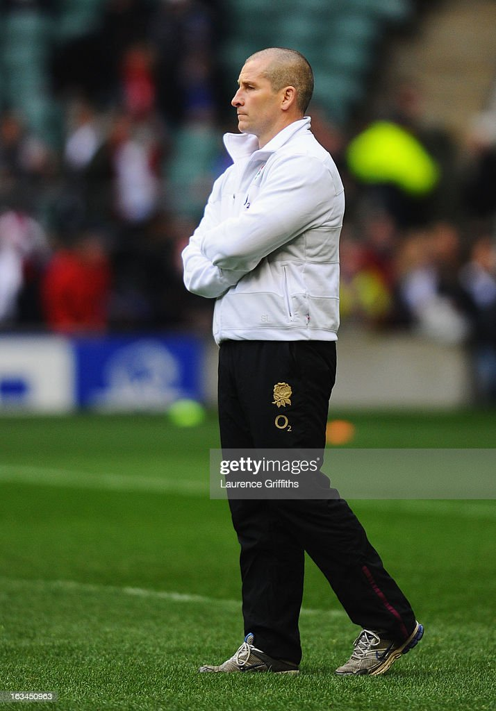 Stuart Lancaster head coach of England looks on prior to the RBS Six Nations match England and Italy at Twickenham Stadium on March 10, 2013 in London, England.