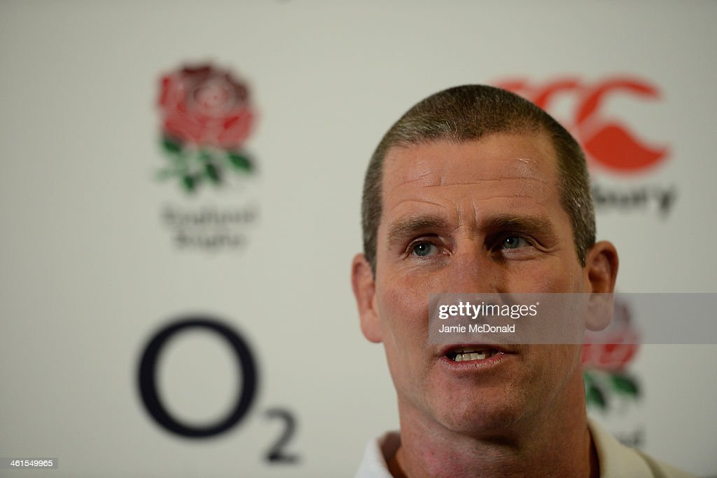 Stuart Lancaster, head coach of the England rugby team talks to the media during an England squad announcement at Twickenham stadium on January 9, 2014 in London, England.