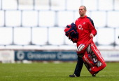 Stuart Lancaster of England in action during a training session at the Headingley Carnegie Stadium on January 25 2013 in Leeds England