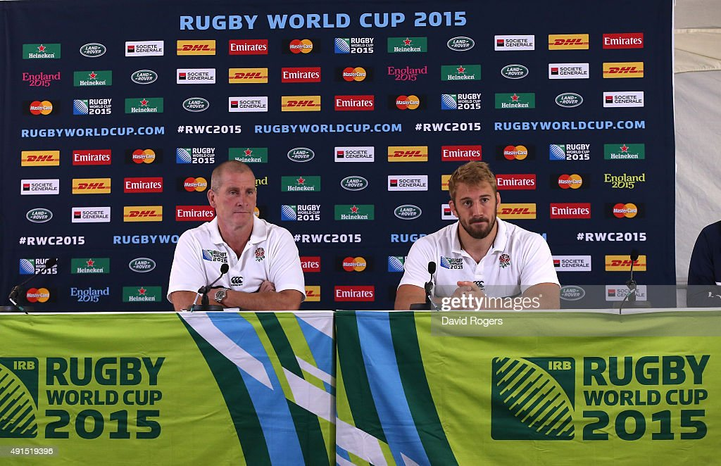 Stuart Lancaster the England head coach faces the media with team captain Chris Robshaw during the England media session at Pennyhill Park on October...