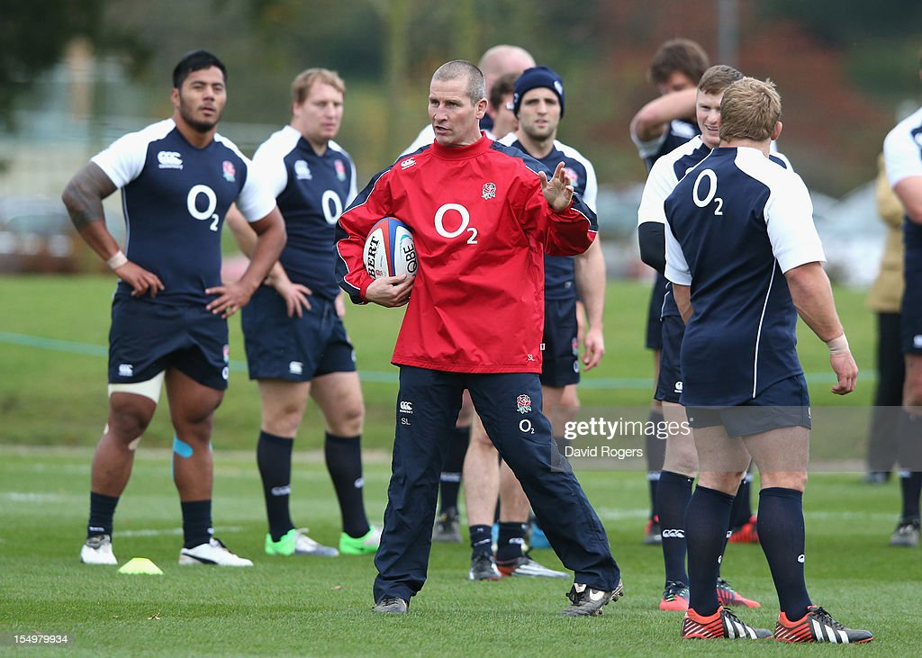 Stuart Lancaster, the England head coach issues instructions during the England training session held at St Georges Park on October 29, 2012 in Burton-upon-Trent, England.