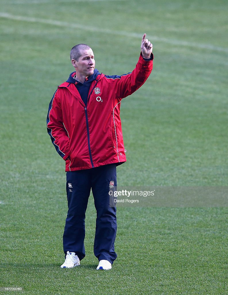 Stuart Lancaster, the England head coach, issues instructions during the England captain's run at Twickenham Stadium on November 30, 2012 in London, England.