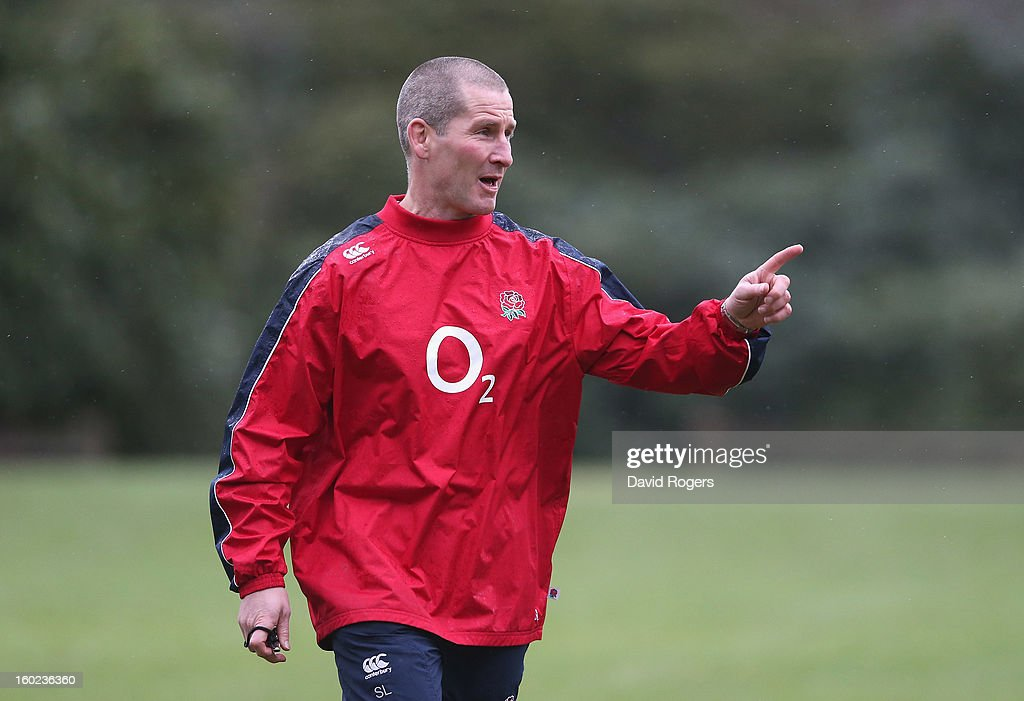 Stuart Lancaster, the England head coach issues instructions during the England training session held at Pennyhill Park on January 28, 2013 in Bagshot, England.