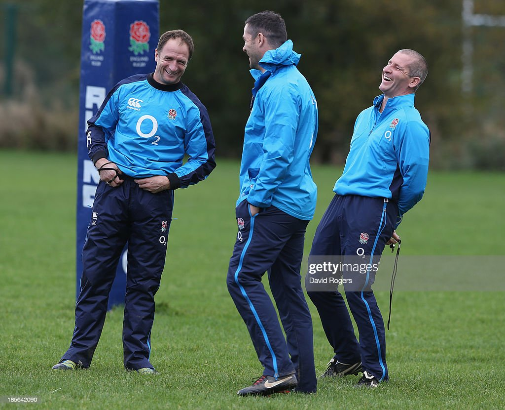 <a gi-track='captionPersonalityLinkClicked' href=/galleries/search?phrase=Stuart+Lancaster&family=editorial&specificpeople=2263180 ng-click='$event.stopPropagation()'>Stuart Lancaster</a>,(R) the England head coach laughs with coaches <a gi-track='captionPersonalityLinkClicked' href=/galleries/search?phrase=Andy+Farrell+-+Rugby+Coach&family=editorial&specificpeople=234823 ng-click='$event.stopPropagation()'>Andy Farrell</a> and <a gi-track='captionPersonalityLinkClicked' href=/galleries/search?phrase=Mike+Catt&family=editorial&specificpeople=213736 ng-click='$event.stopPropagation()'>Mike Catt</a> (L) during the England training session held at West Park Leeds Rugby Club on October 23, 2013 in Leeds, England.