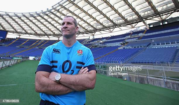 Stuart Lancaster the England head coach looks around the stadium during the England captain's run at the Stadio Olimpico on March 14 2014 in Rome...