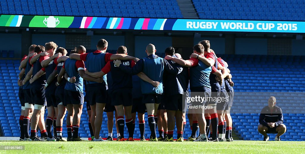 <a gi-track='captionPersonalityLinkClicked' href=/galleries/search?phrase=Stuart+Lancaster&family=editorial&specificpeople=2263180 ng-click='$event.stopPropagation()'>Stuart Lancaster</a>, the England head coach looks on as his team gather during the England captain's run at the City of Manchester Stadium on October 9, 2015 in Manchester, England.