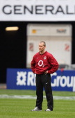 Stuart Lancaster the England head coach looks on during the England captain's run at Stade de France on March 10 2012 in Paris