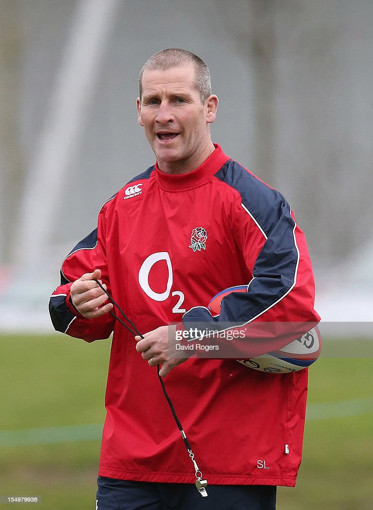 Stuart Lancaster, the England head coach looks on during the England training session held at St Georges Park on October 29, 2012 in Burton-upon-Trent, England.