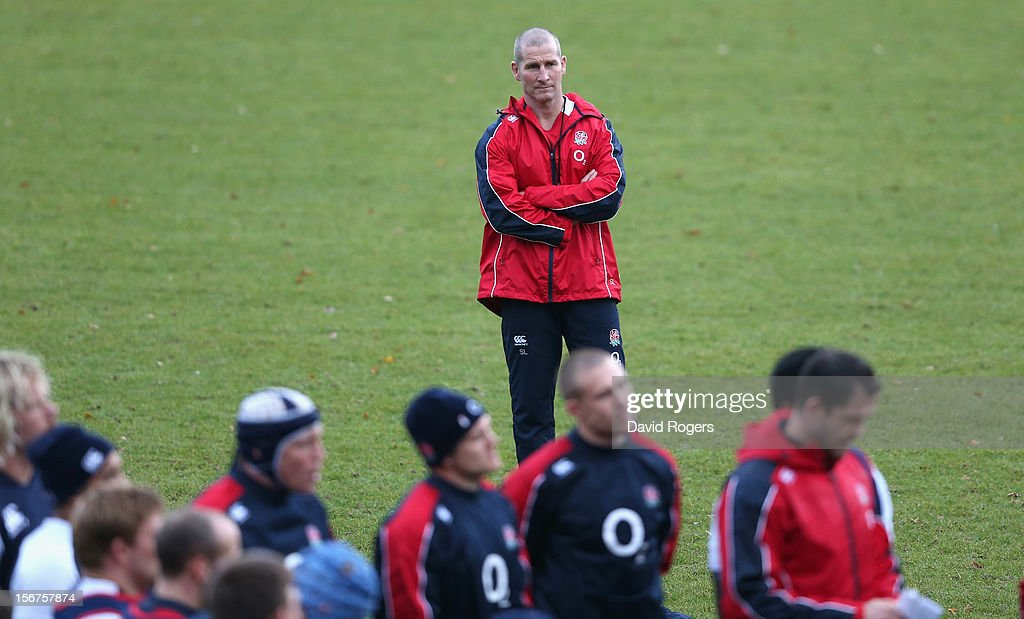 <a gi-track='captionPersonalityLinkClicked' href=/galleries/search?phrase=Stuart+Lancaster&family=editorial&specificpeople=2263180 ng-click='$event.stopPropagation()'>Stuart Lancaster</a>, the England head coach, looks on during the England training session held at Pennyhill Park on November 20, 2012 in Bagshot, England.