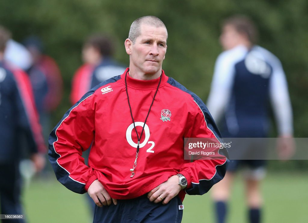 Stuart Lancaster, the England head coach looks on during the England training session held at Pennyhill Park on January 28, 2013 in Bagshot, England.