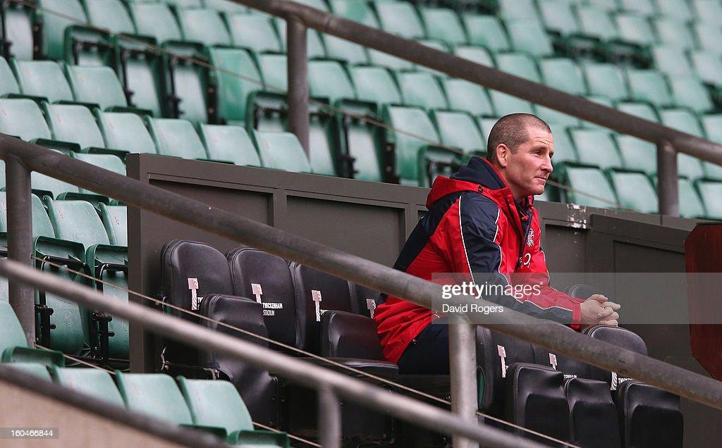 Stuart Lancaster, the England head coach looks on during the England captain's run at Twickenham Stadium on February 1, 2013 in London, England.