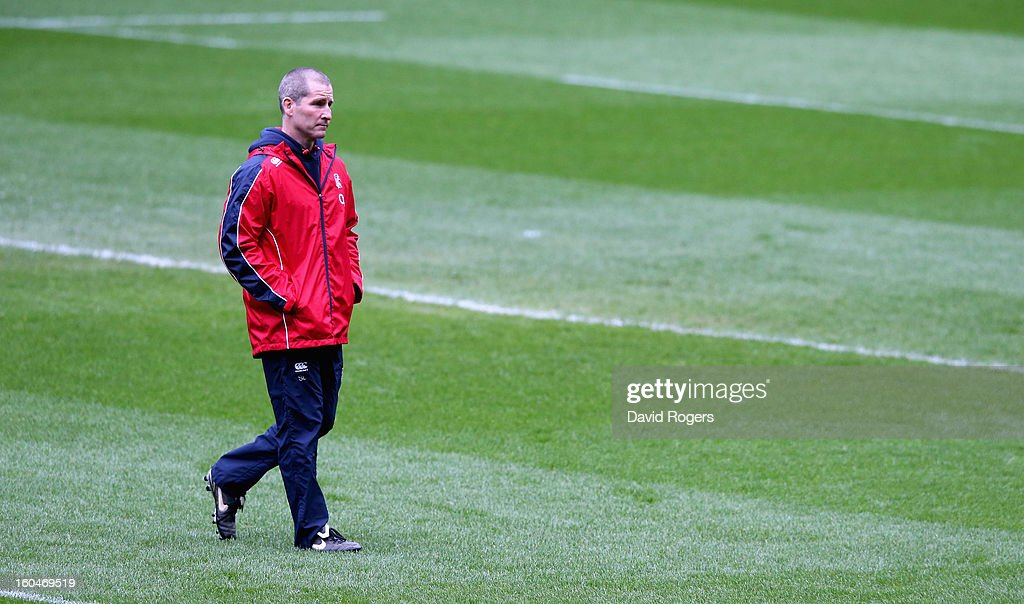 Stuart Lancaster, the England head coach looks on during the England captain's run at Twickenham Stadium on February 1, 2013 in London, England.