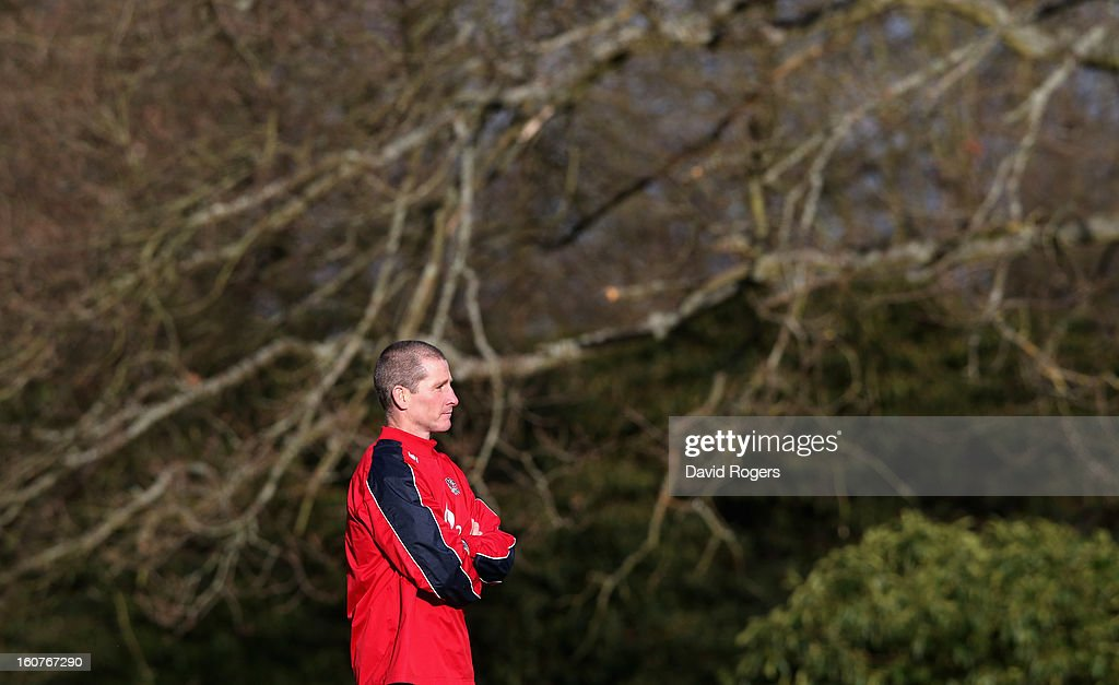 <a gi-track='captionPersonalityLinkClicked' href=/galleries/search?phrase=Stuart+Lancaster&family=editorial&specificpeople=2263180 ng-click='$event.stopPropagation()'>Stuart Lancaster</a>, the England head coach, looks on during the England training session at Pennyhill Park on February 5, 2013 in Bagshot, England.