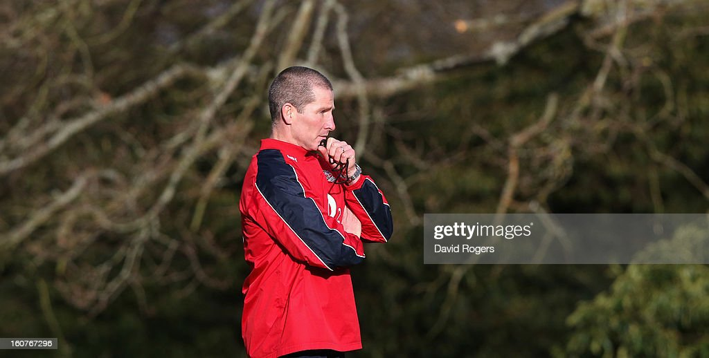 Stuart Lancaster, the England head coach, looks on during the England training session at Pennyhill Park on February 5, 2013 in Bagshot, England.