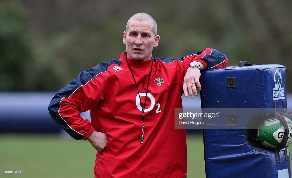 Stuart Lancaster, the England head coach, looks on during the England training session held at Pennyhill Park on February 6, 2013 in Bagshot, England.