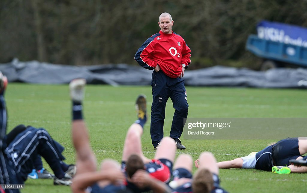 Stuart Lancaster, the England head coach looks on during the England training session held at Pennyhill Park on February 6, 2013 in Bagshot, England.