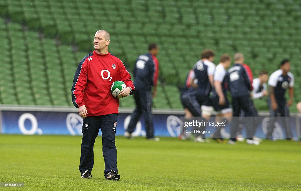 <a gi-track='captionPersonalityLinkClicked' href=/galleries/search?phrase=Stuart+Lancaster&family=editorial&specificpeople=2263180 ng-click='$event.stopPropagation()'>Stuart Lancaster</a>, the England head coach, looks on during the England captain's run at the Aviva Stadium on February 9, 2013 in Dublin, Ireland.