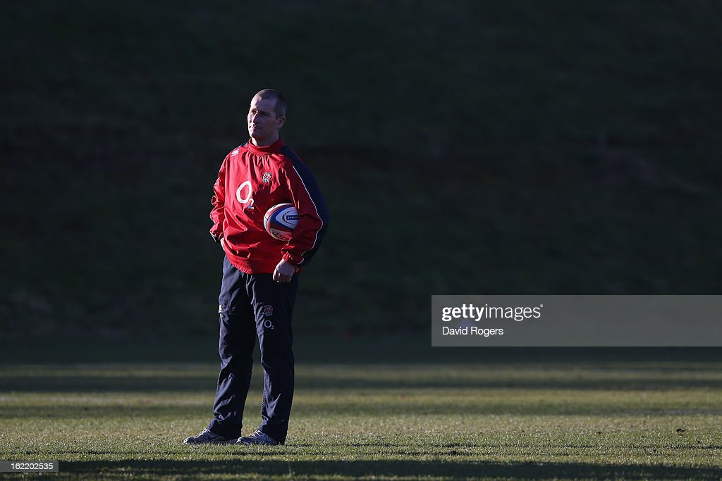 <a gi-track='captionPersonalityLinkClicked' href=/galleries/search?phrase=Stuart+Lancaster&family=editorial&specificpeople=2263180 ng-click='$event.stopPropagation()'>Stuart Lancaster</a>, the England head coach looks on during the England training session held at Pennyhill Park on February 19, 2013 in Bagshot, England.