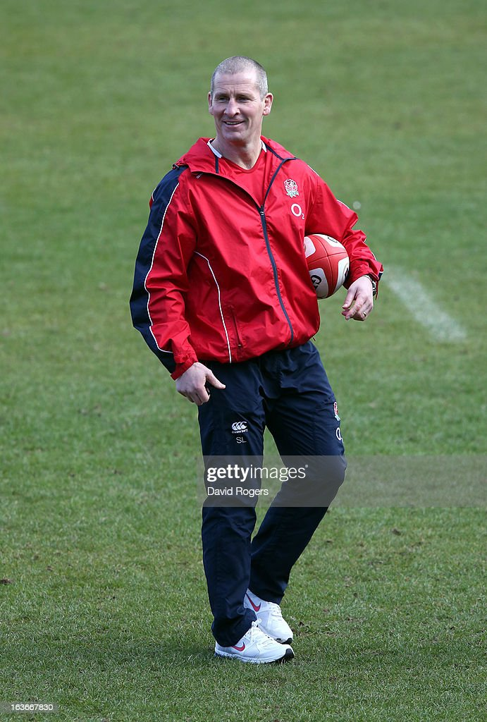 Stuart Lancaster, the England head coach looks on during the England training session at Pennyhill Park on March 14, 2013 in Bagshot, England.