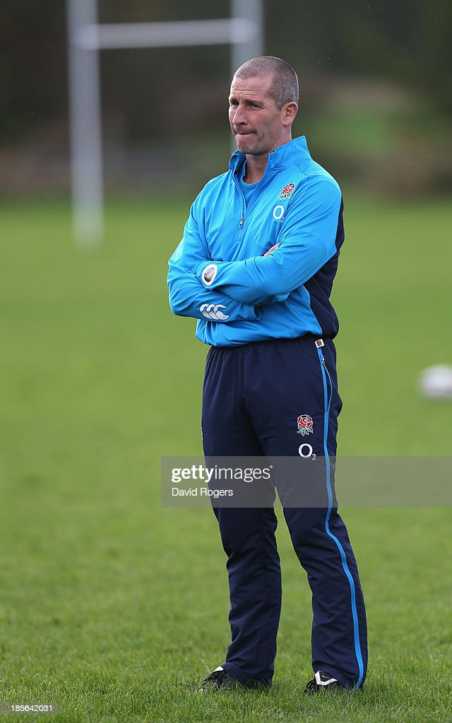 <a gi-track='captionPersonalityLinkClicked' href=/galleries/search?phrase=Stuart+Lancaster&family=editorial&specificpeople=2263180 ng-click='$event.stopPropagation()'>Stuart Lancaster</a>, the England head coach looks on during the England training session held at West Park Leeds Rugby Club on October 23, 2013 in Leeds, England.