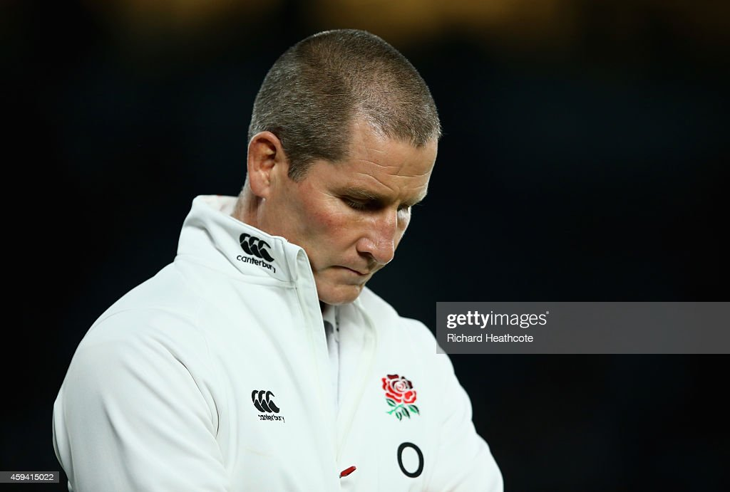 <a gi-track='captionPersonalityLinkClicked' href=/galleries/search?phrase=Stuart+Lancaster&family=editorial&specificpeople=2263180 ng-click='$event.stopPropagation()'>Stuart Lancaster</a> the England head coach looks on prior to the QBE international match between England and Samoa at Twickenham Stadium on November 22, 2014 in London, England..