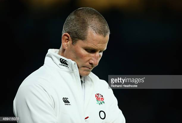 Stuart Lancaster the England head coach looks on prior to the QBE international match between England and Samoa at Twickenham Stadium on November 22...