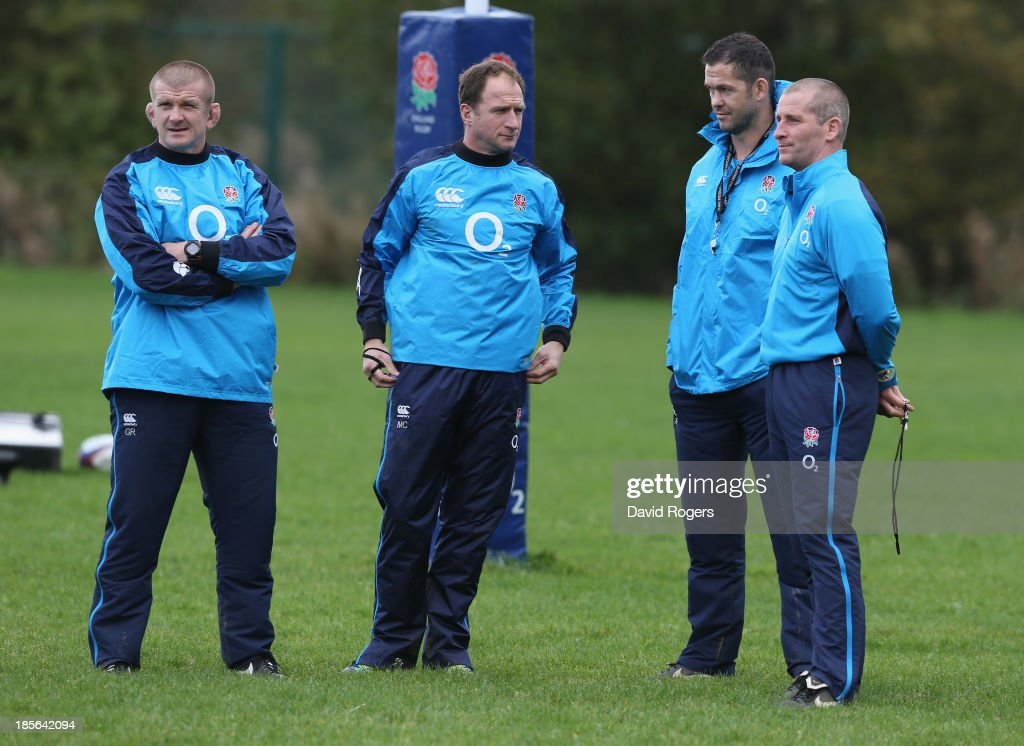 <a gi-track='captionPersonalityLinkClicked' href=/galleries/search?phrase=Stuart+Lancaster&family=editorial&specificpeople=2263180 ng-click='$event.stopPropagation()'>Stuart Lancaster</a>, the England head coach looks on with his assistant coaches <a gi-track='captionPersonalityLinkClicked' href=/galleries/search?phrase=Andy+Farrell+-+Rugby+Coach&family=editorial&specificpeople=234823 ng-click='$event.stopPropagation()'>Andy Farrell</a>, <a gi-track='captionPersonalityLinkClicked' href=/galleries/search?phrase=Mike+Catt&family=editorial&specificpeople=213736 ng-click='$event.stopPropagation()'>Mike Catt</a> and <a gi-track='captionPersonalityLinkClicked' href=/galleries/search?phrase=Graham+Rowntree&family=editorial&specificpeople=215047 ng-click='$event.stopPropagation()'>Graham Rowntree</a> during the England training session held at West Park Leeds Rugby Club on October 23, 2013 in Leeds, England.