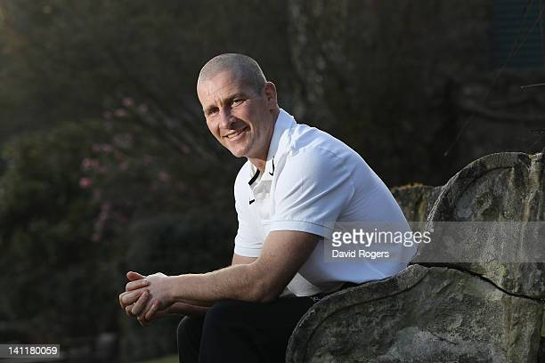 Stuart Lancaster the England head coach poses after the England media session held at Pennyhill Park on March 12 2012 in Bagshot England