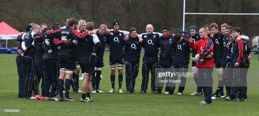 Stuart Lancaster, the England head coach talks to his team during the England training session at Pennyhill Park on January 29, 2013 in Bagshot, England.