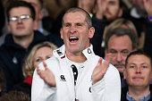 Stuart Lancaster the head coach of England celebrates after winning the QBE international match between England and Australia at Twickenham Stadium...