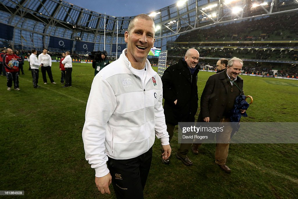 Stuart Lancaster the Head Coach of England celebrates following his team's victory during the RBS Six Nations match between Ireland and England at Aviva Stadium on February 10, 2013 in Dublin, Ireland.