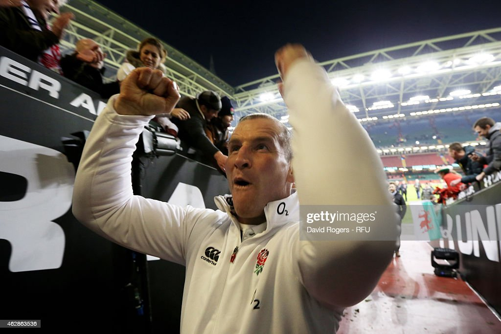 Stuart Lancaster the head coach of England celebrates following his team's 2116 victory during the RBS Six Nations match between Wales and England at...