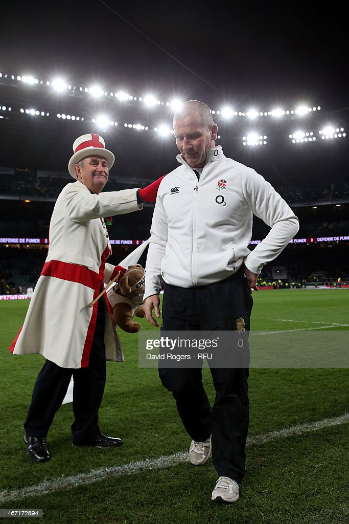 Stuart Lancaster the head coach of England walks off the pitch at the end of the RBS Six Nations match between England and France at Twickenham...