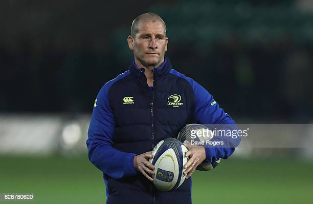 Stuart Lancaster the Leinster assistant coach looks on during the European Rugby Champions Cup match between Northampton Saints and Leinster at...