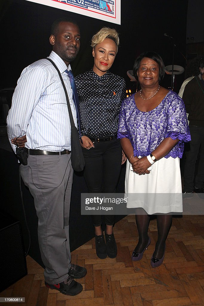 Stuart Lawrence, Emeli Sande and Doreen Lawrence attend a press conference and photocall to accounce 'Unity - A Concert for Stephen Lawrence' at Abbey Road Studios on June 18, 2013 in London, England.