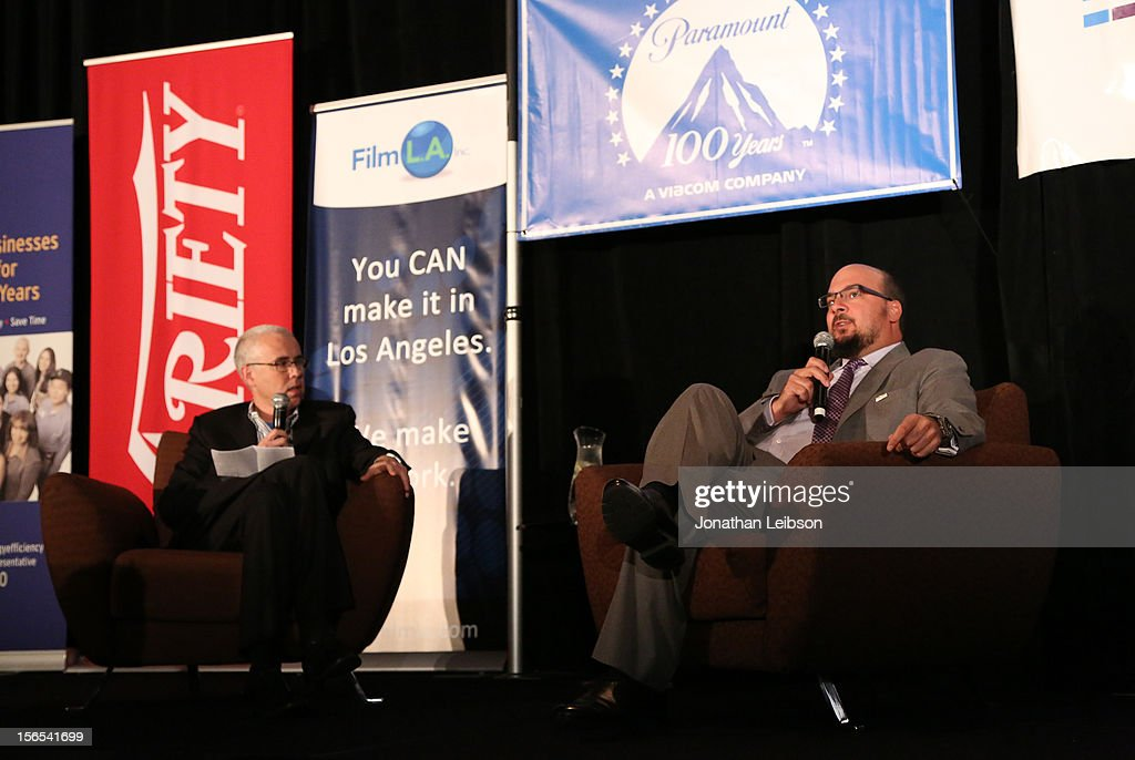 Stuart Levine, Variety (L) and honoree Anthony E. Zuiker, Creator/Executive Producer of CSI speak onstage at Variety's Hollywood Chamber Entertainment Conference 2012 at Loews Hollywood Hotel on November 16, 2012 in Hollywood, California.