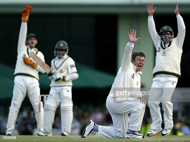 Stuart MacGill of Australia traps Mohammad Ashraful of Bangladesh LBW during day three of the Second Test between Australia and Bangladesh played at...