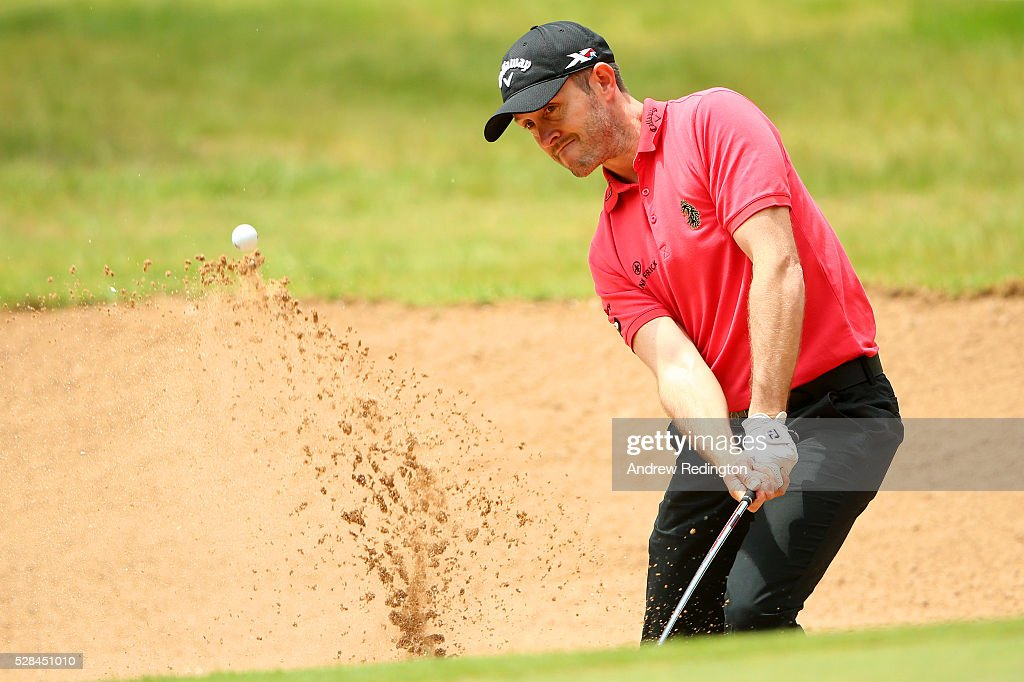 <a gi-track='captionPersonalityLinkClicked' href=/galleries/search?phrase=Stuart+Manley&family=editorial&specificpeople=228831 ng-click='$event.stopPropagation()'>Stuart Manley</a> of Wales hits a bunker shot on the 16th during the first round of the Trophee Hassan II at Royal Golf Dar Es Salam on May 5, 2016 in Rabat, Morocco.