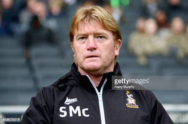 Stuart McCall manager of Bradford City looks on prior to the Sky Bet League One match between Milton Keynes Dons and Bradford City at StadiumMK on...
